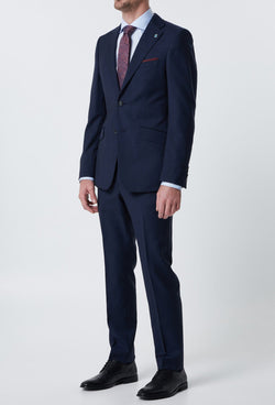 A full length view of the wolf kanat slim fit hearts suit in navy superfine pure wool 6WK8213