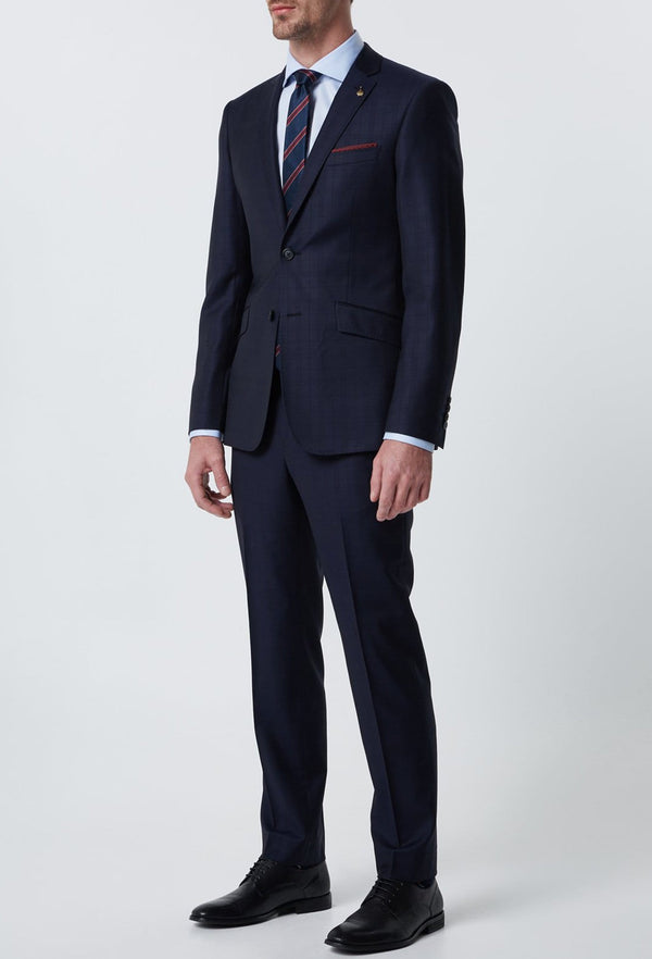 A full length view of the wolf kanat slim fit Leningrad navy self check wool suit 1K1700