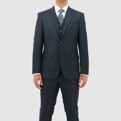 a front on view of the jacket and trouser shape from the boston michel classic fit suit in blue pure wool B106-12