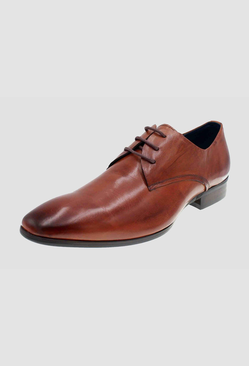 a side view of the martino carolus leather lace up shoe in dark tan FM194M