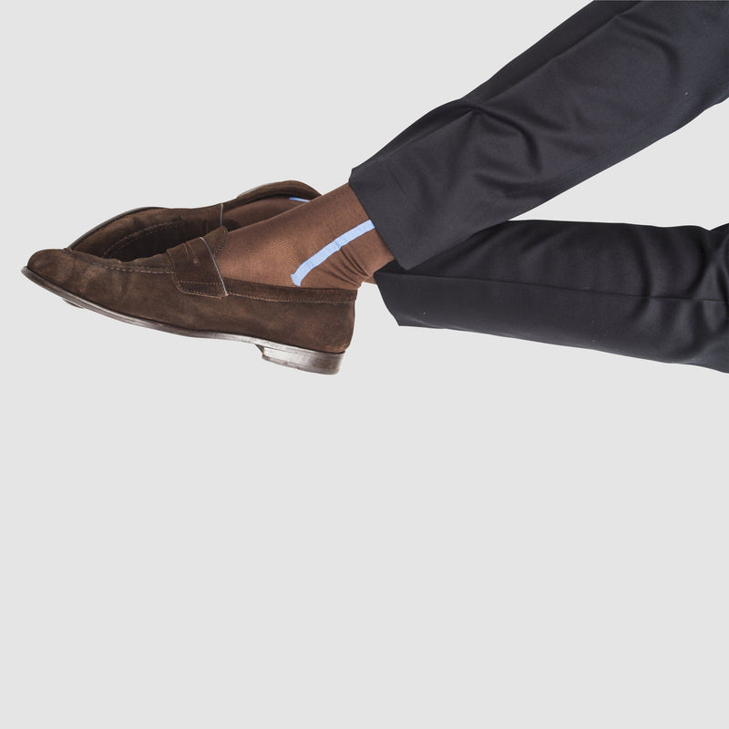 a man wearing mercerized cotton socks in brown 2