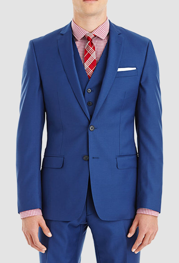a model wears the Gibson slim fit lithium suit in blue pure wool FGY007