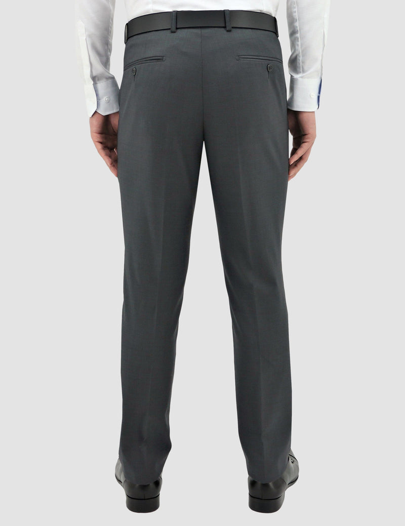 a reverse view of the classic fit boston lyon trouser in grey pure wool B704-03