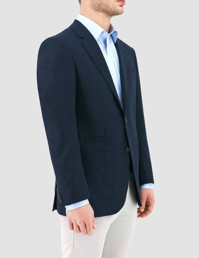 a side on view of the daniel hechter slim fit pure wool sportscoat in navy DH103-11
