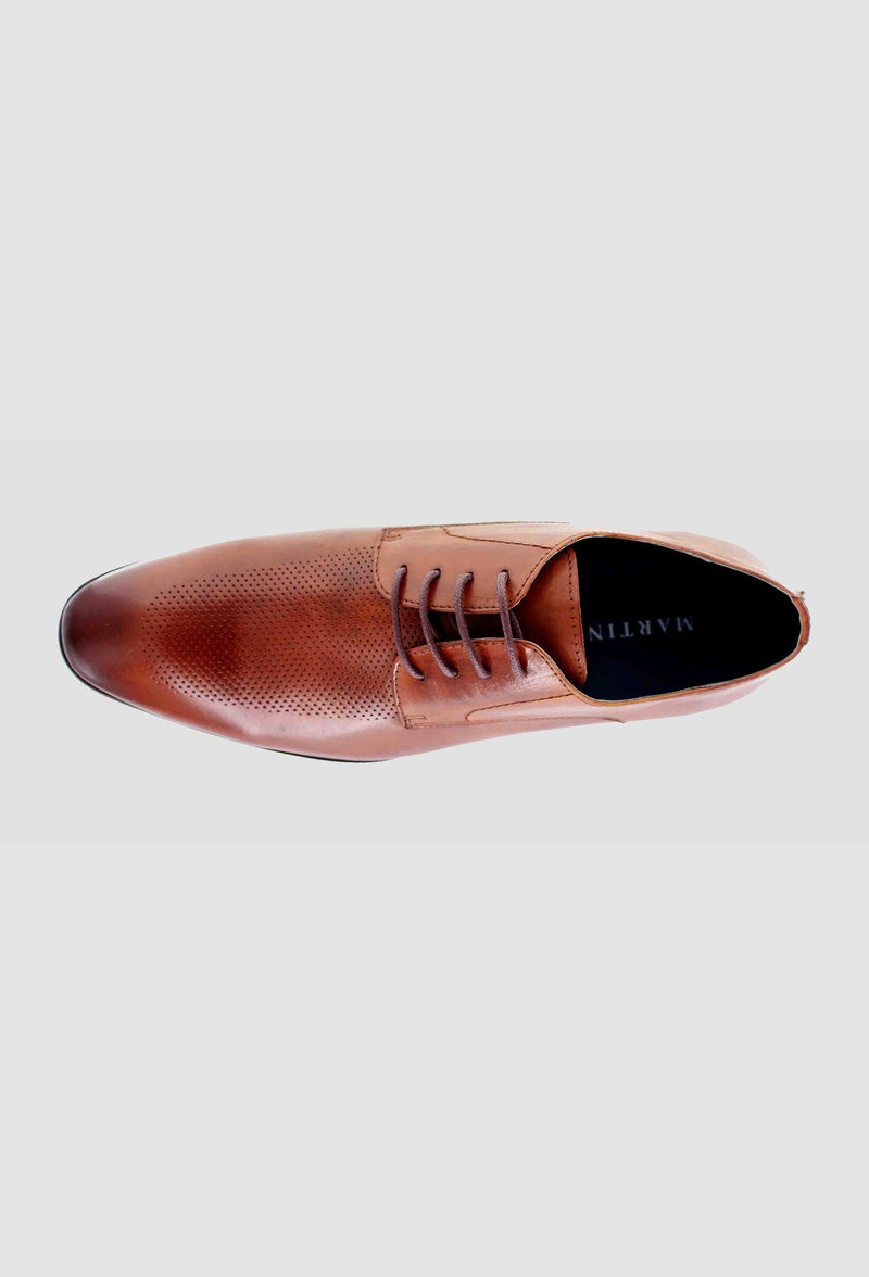 a birdseye view of the Martino Carolus buffalo lace up leather shoe in dark tan FM192M