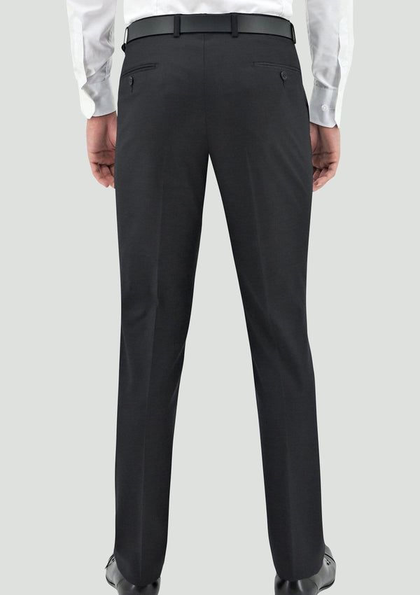 a back view of the daniel hechter slim fit edward mens suit trouser in charcoal merino wool STDH106-02