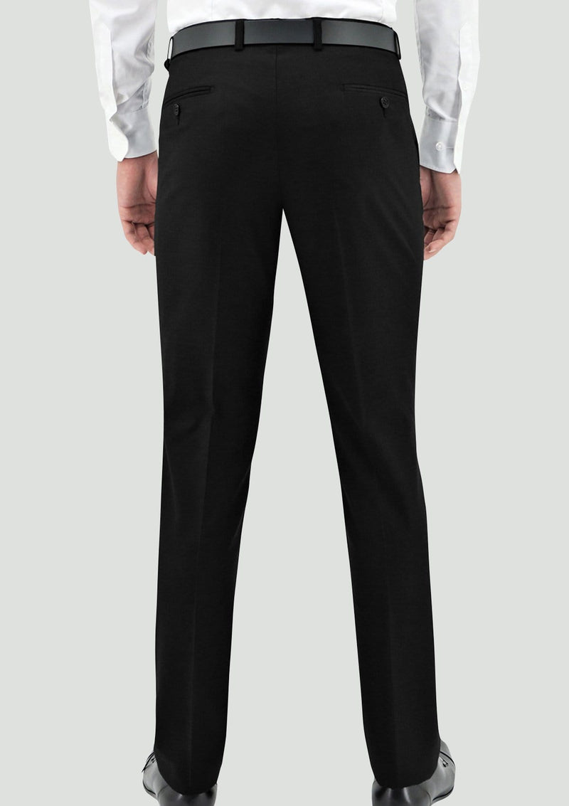 a back view of the Daniel Hechter slim fit edward mens suit trouser in black pure wool STDH106-01