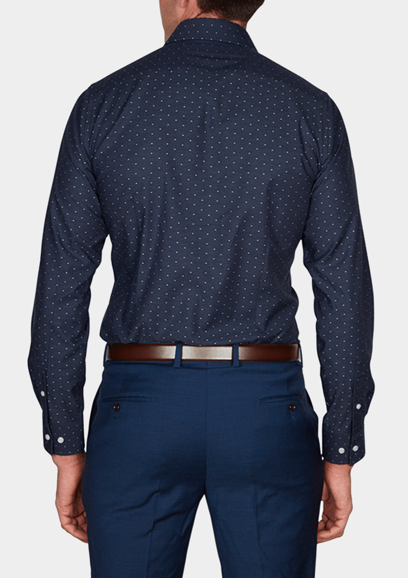 a back view of the jeff banks slim fit navy casual mens shirt K102793178.IK