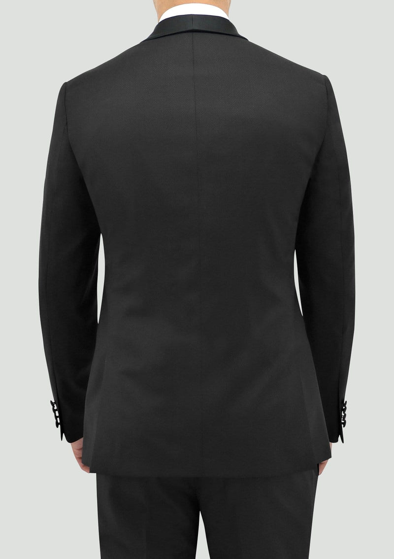 a back view of the boston classic fit edward tuxedo jacket in black pure wool STB203-01-