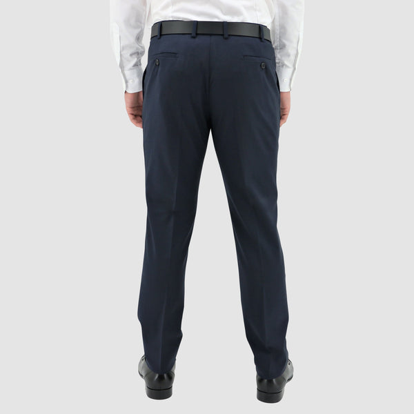a back view of the boston edward trouser in navy pure wool STB203-11
