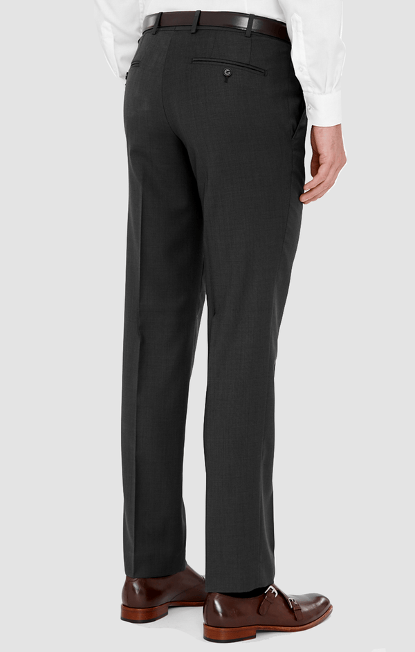 a back view of the cambridge jett trouser in charcoal poly wool blend F2042