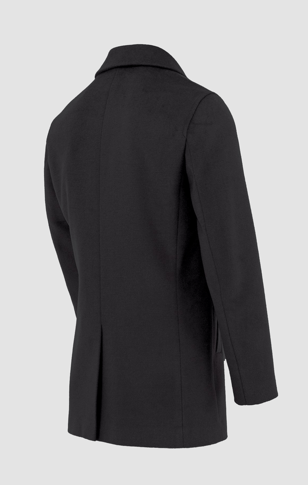 the back view of the daniel hechter mens winter coat in black DH817C-01