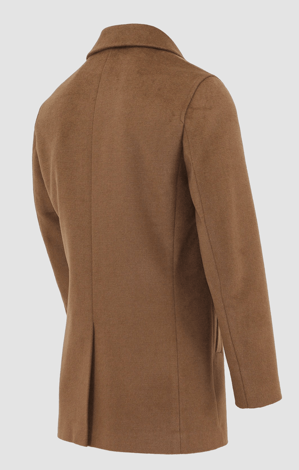 showing the back vent and shape of the daniel hechter slim fit carvell mens coat in tan W20DH817C-24