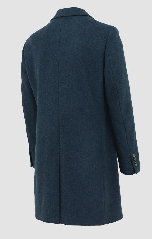 the back of the daniel hechter slim fit chicago mens coat in blue wool blend DH626-11