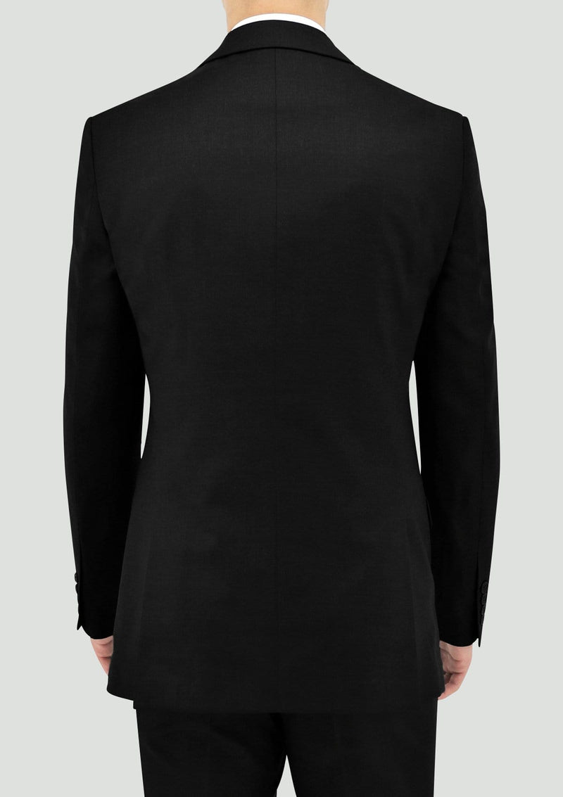 a back view of the Daniel Hechter slim fit shape suit jacket in black pure wool DH106-01