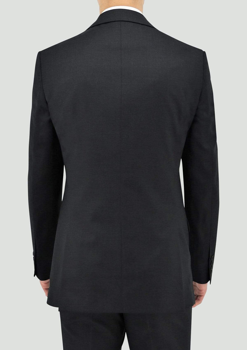 a back view of the daniel hechter slim fit shape mens suit in charcoal pure wool STDH106-02