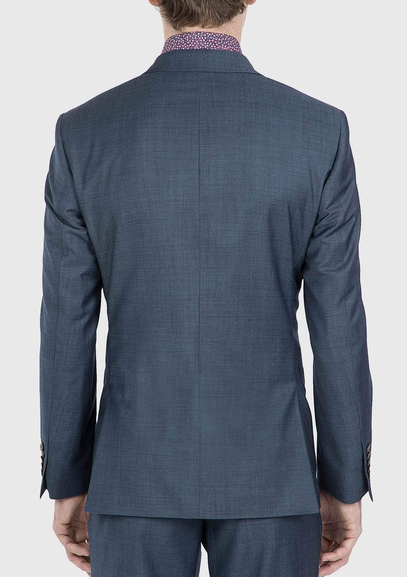a back view of the gibson slim fit beta mens suit in blue pure wool FG1610