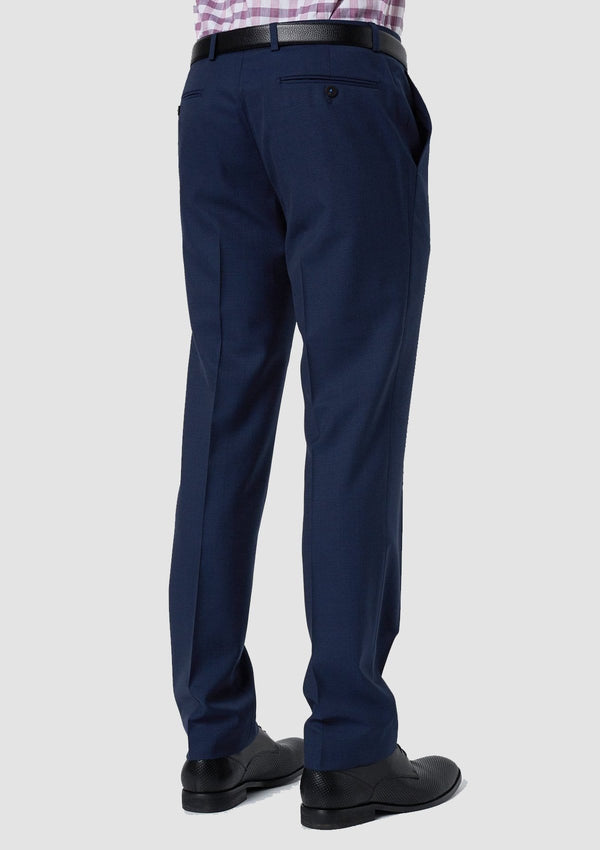 a back view of the slim fit wolf kanat konsul suit trouser in navy pure wool 8WK9017