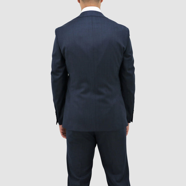slim fit daniel hechter michel suit in blue pure wool DH101-12 back view