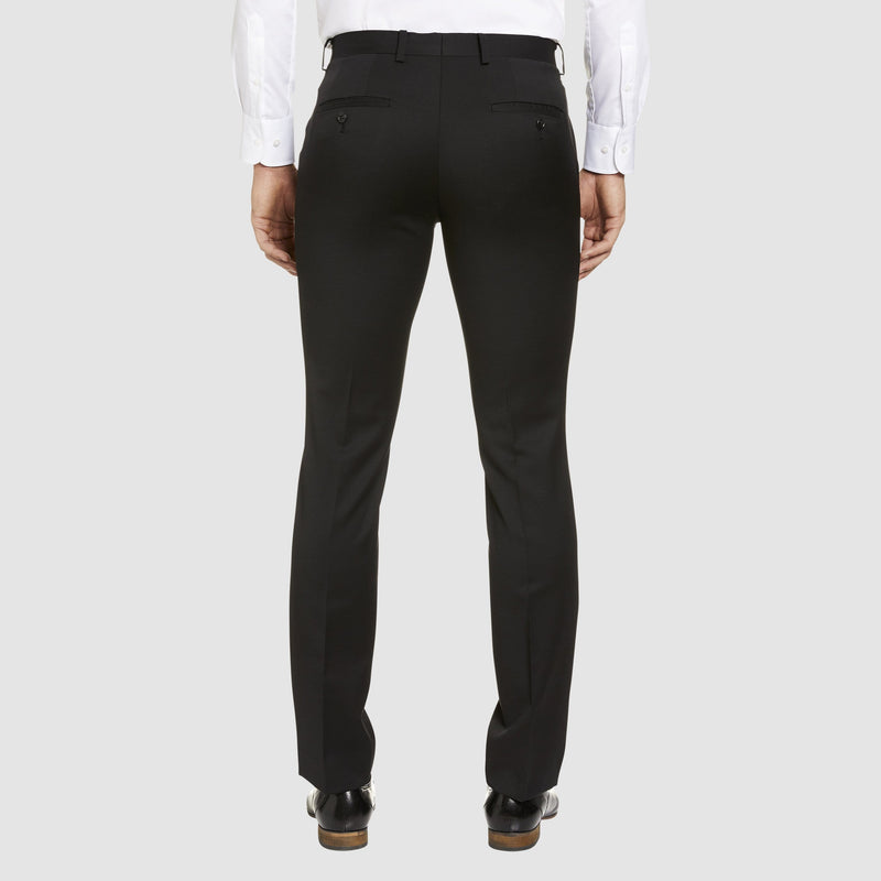 a back view of the studio italia T85 trouser in black merino wool ST-362-11