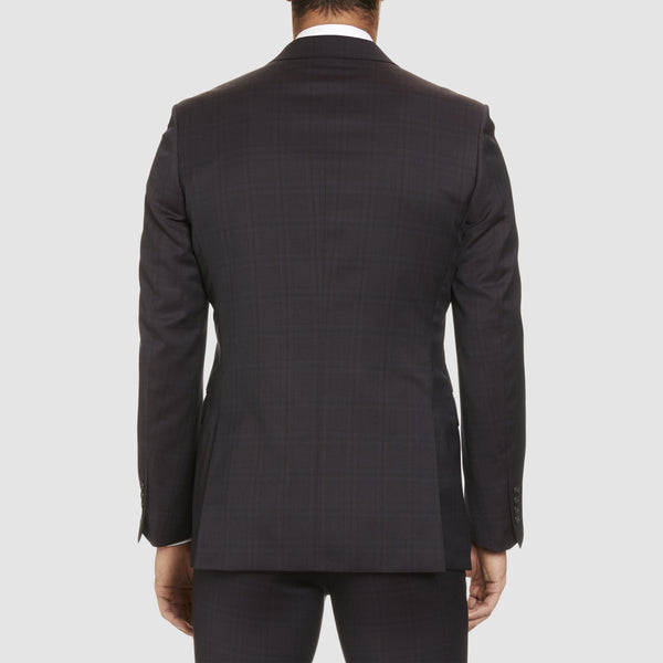 back of the jacket in the studio italia slim fit T85 trouser in bugundy merino wool