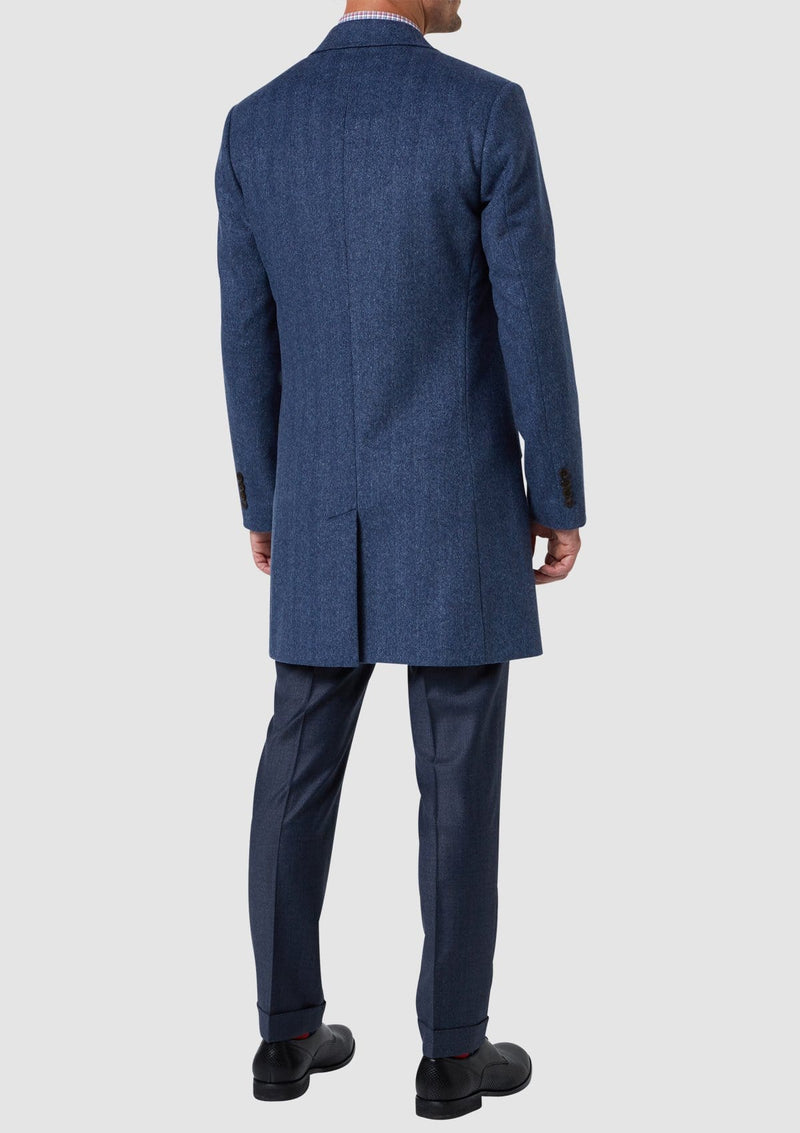 a front view of the Blue Melange Mens Wool Over Coat By Wolf Kanat 8WK9000 in Blue wool cashmere