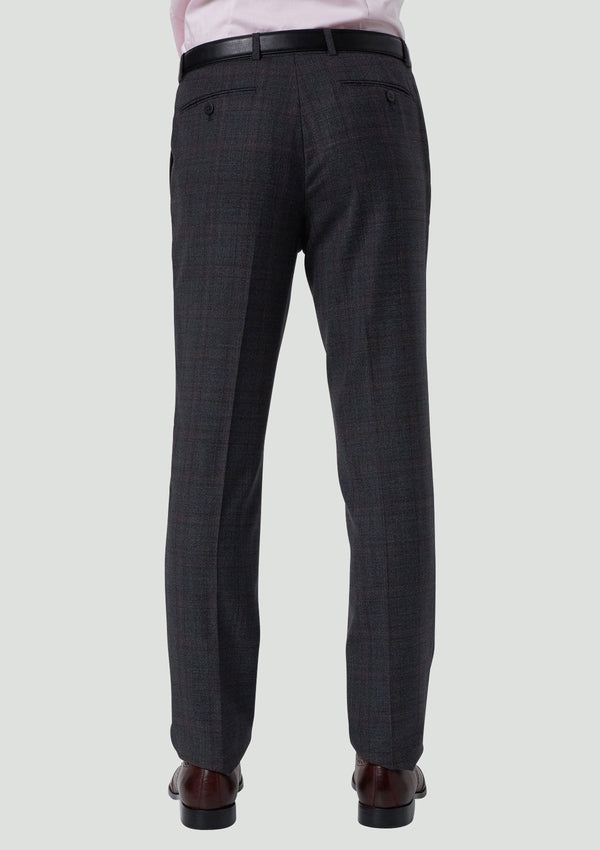 the back view of the wolf kanat slim fit hearts suit trouser product code 8WK9008 in pure wool charcoal and red check