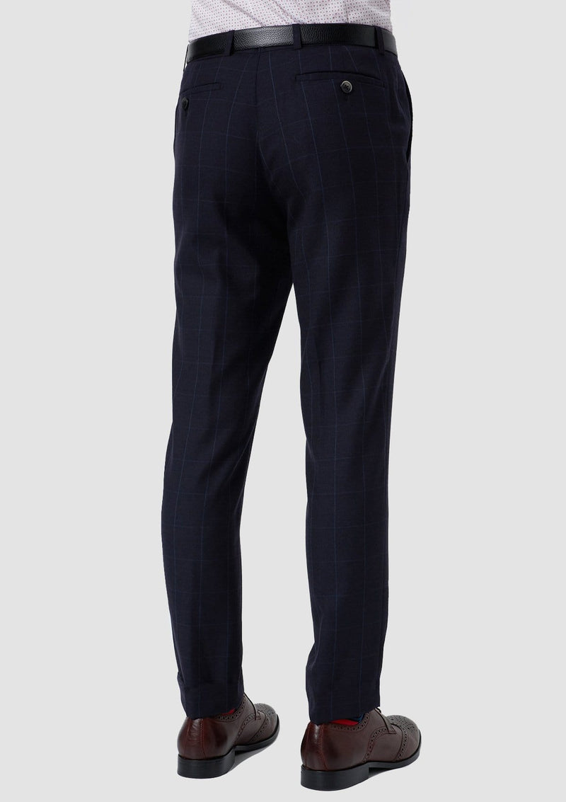 a back view of the wolf kanat slim fit hearts mens suit trouser in navy pure wool 8WK9009