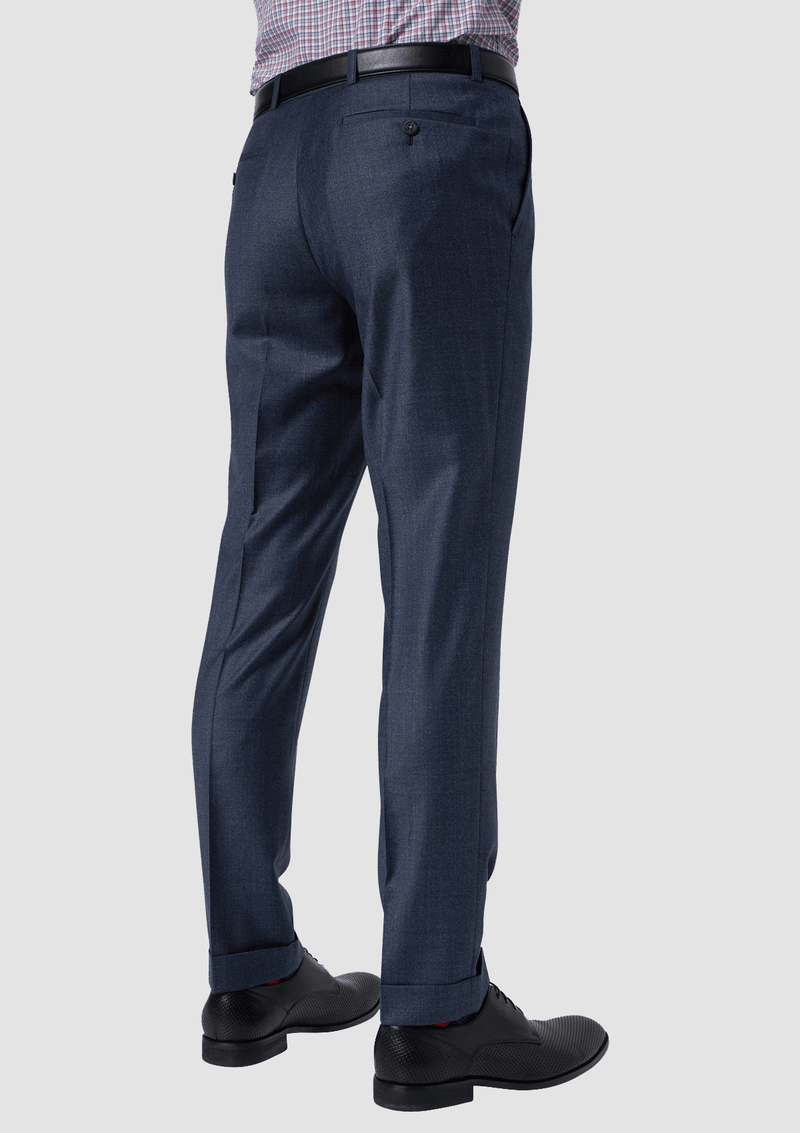 showing the back pocket details of the wolf kanat hearts trouser in blue melange pure wool