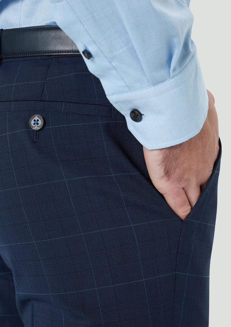 a close up of the back pocket on the yury slim fit suit trouser 9WK9022