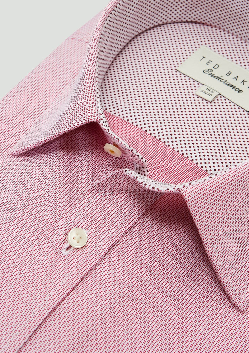 collar detail on the Ted Baker slim fit endurance business shirt in pink