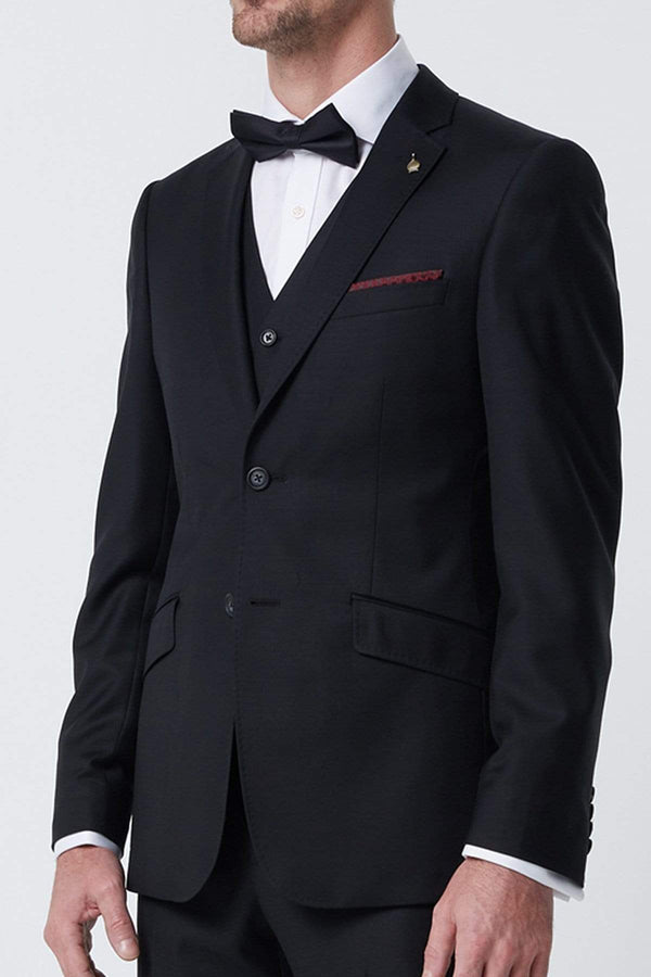 the wolf kanat slim fit autograf suit vest in black pure wool 7WK4235