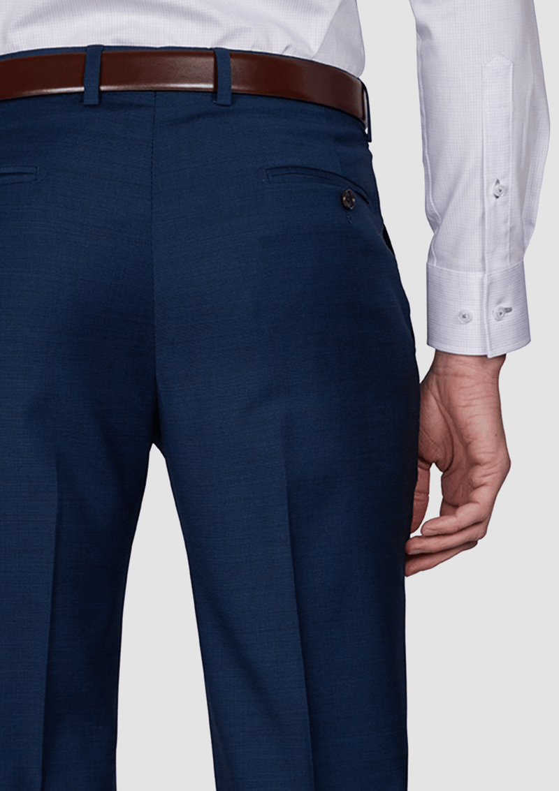a close up view of the Jeff Banks slim fit performance suit trouser in navy blue wool lycra blend K386211