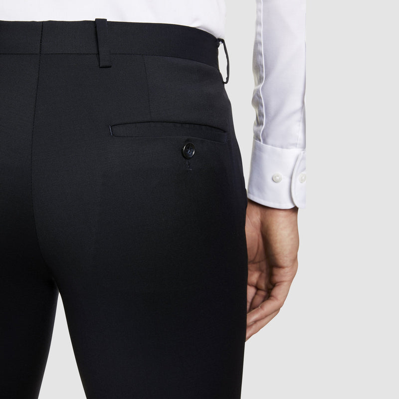 close up view of the pocket detail on the studio italia T85 suit trouser in navy merino wool ST-362-11