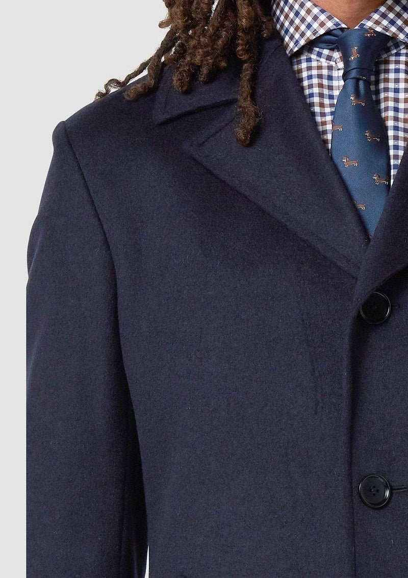 a close up of the collar on the wolf kanat slim fit mens coat in navy italian wool blend - Rain 4WK7216