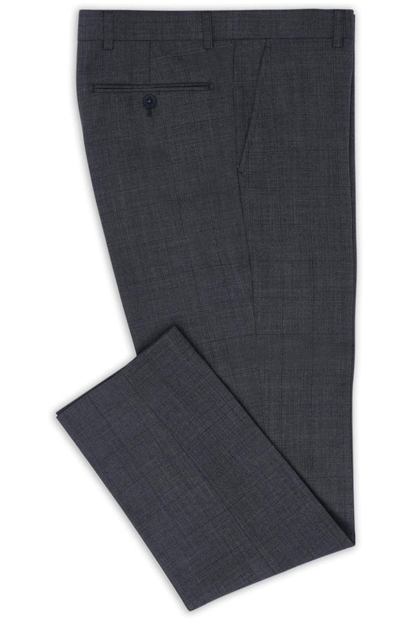 a close up view of the hearts trouser in grey windowpane check 6WK8294