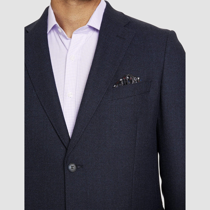 the notch lapel and textured fabric of the studio italia noah sports jacket n navy australian wool ST-414-11