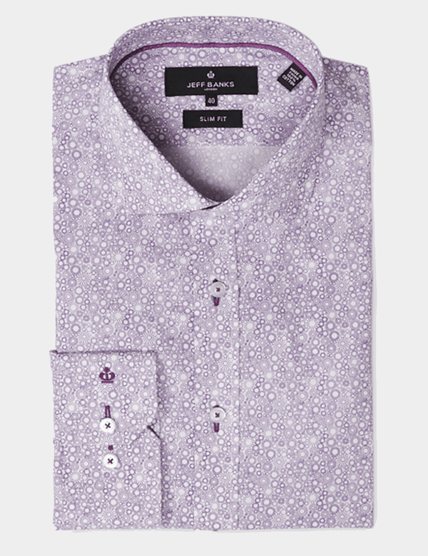 the jeff banks floral mauve mens cotton shirt K101202128