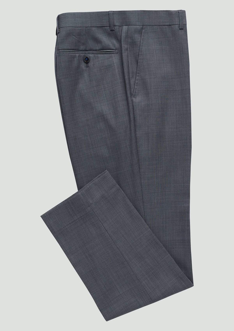 a close up view of the classic fit wolf kanat mens suit trousers caviar in grey pure wool 7WK8219