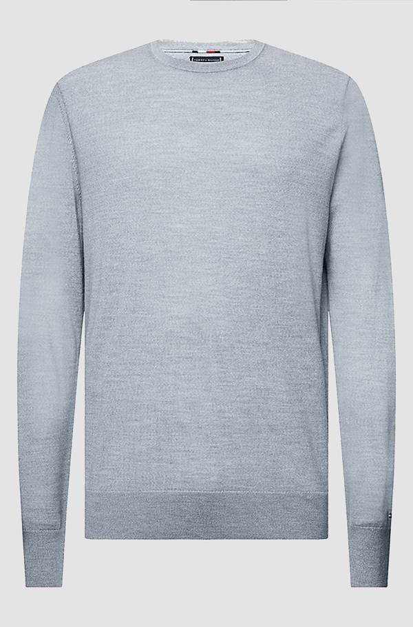 Tommy Hilfiger classic fit luxury wool crew neck jumper in melange grey TT0TT06521_P9V