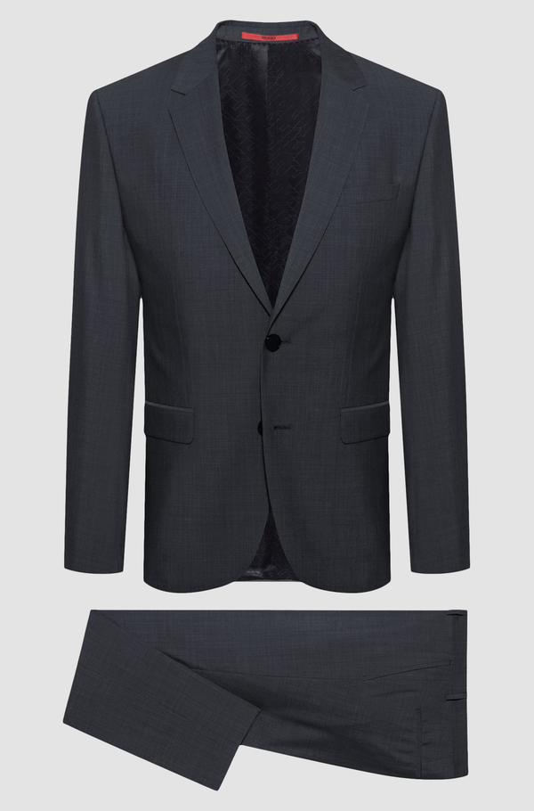 Hugo slim fit arti hesten suit in charcoal pure wool