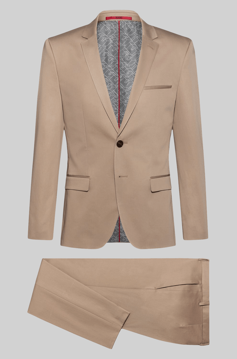 the slim fit hugo boss arti hesten mens suit in medium beige pure wool 50427397