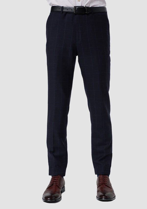 a front on view of the wolf kanat slim fit hearts trouser in navy check pure wool 8WK9009