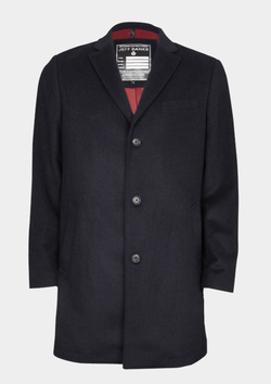 Jeff Banks classic fit mottle mini check mens coat in charcoal
