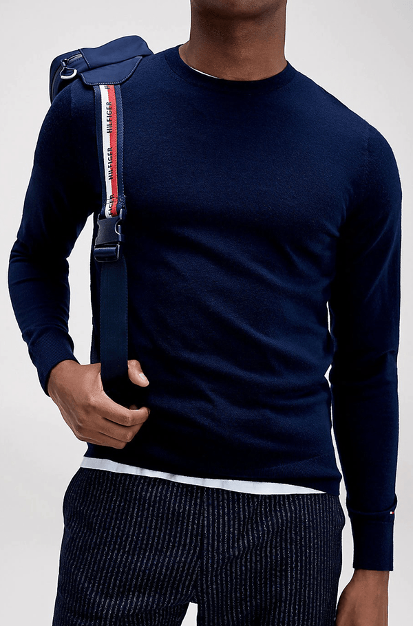Tommy Hilfiger classic fit luxury wool mens crew neck jumper in navy TT0TT06521_DW5