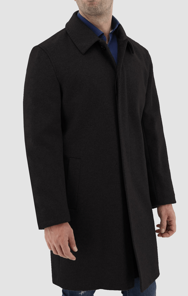 the front view of the daniel hechter slim fit carvell mens coat in black W20DH817C-01