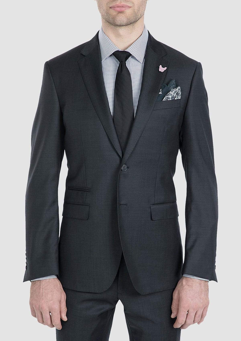 the gibson slim fit beta suit jacket in charcoal pure wool FG1614
