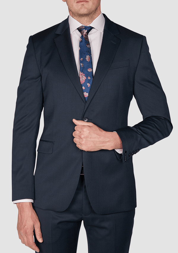 a front view of the Jeff Banks slim fit ivy league suit in navy wool blend K1020208