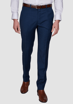 a front view of the Jeff Banks slim fit performance suit trouser in navy blue wool lycra blend K386211