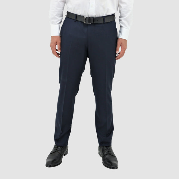 a front view of the boston classic fit edward trouser in navy pure wool STB203-11